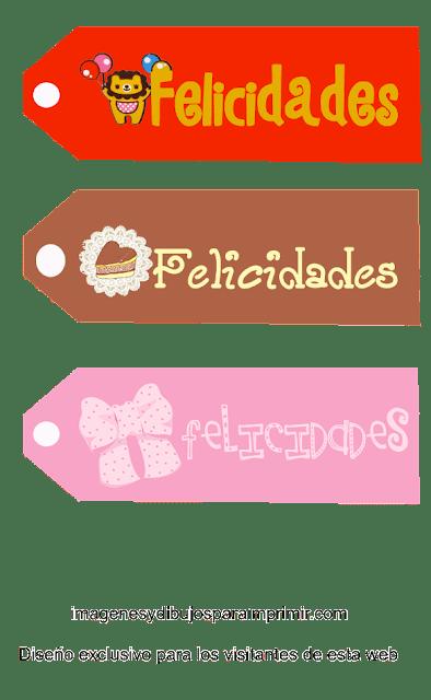 Etiquetas de Felicidades para imprimir