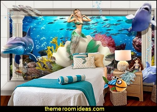 Underwater World 3d stereoscopic palace Mermaid wallpaper