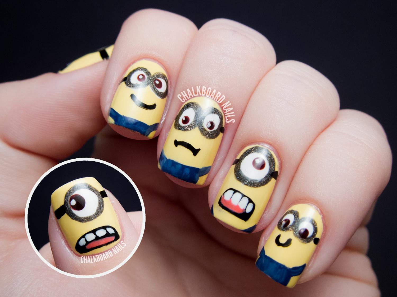 minions despicable me nail art chalkboard nails nail art blog. Black Bedroom Furniture Sets. Home Design Ideas