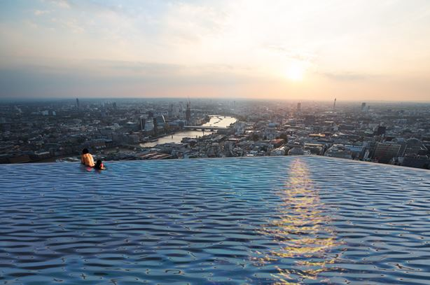 View of London with Infinity London's 1st 360° Swimming pool