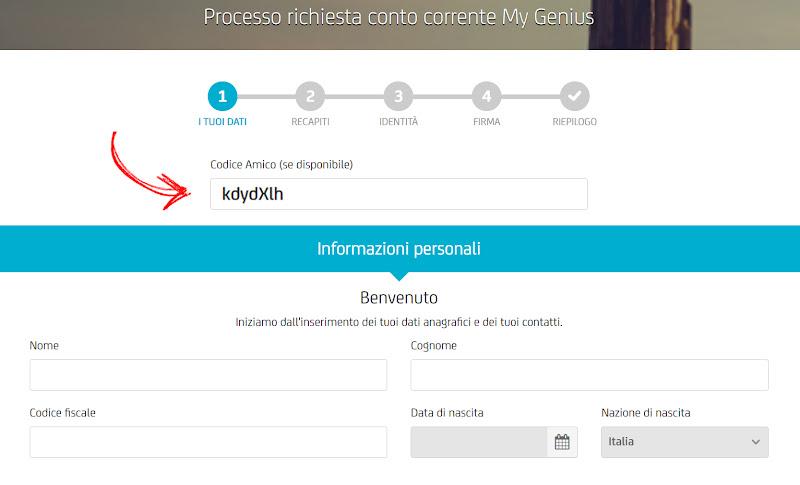 Unicredit: Conto gratis + 180€ di bonus + 75€ per ogni amico invitato Scree-inserimento-codice2