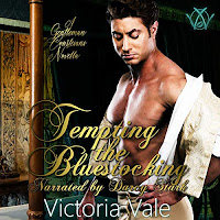 Tempting the Bluestocking audiobook cover. A toned, handsome man standing in a bedroom shrugs out of a shirt and jacket to reveal a bare chest.