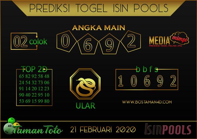 Prediksi Togel ISIN TAMAN TOTO 21 FEBRUARY 2020