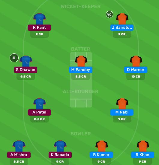 DC vs SRH Dream11 team for Today's Match by Dream11 Guru