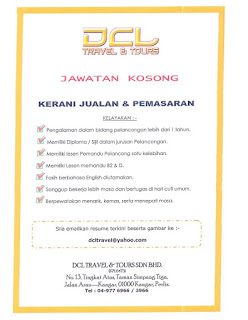 DCL Travel And Tours Kerja Kosong
