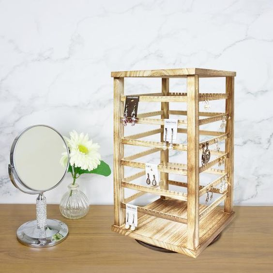 Natural Wood Rotating Jewelry Earring/Accessory Storage Display, Oak