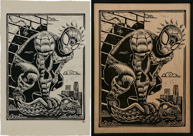 Spider-Man Marvel Linocut Print by Attack Peter x Sideshow Collectibles