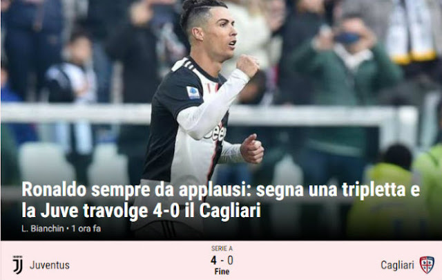 """Ronaldo lập hat-trick phi thường chào 2020: Báo Italia tung hô, ví như """"máy ủi"""" 3"""
