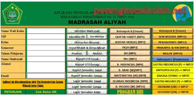 Aplikasi Excel Pengolahan Nilai/ Raport Kelas 10 Madrasah Aliyah Kurikulum 2013
