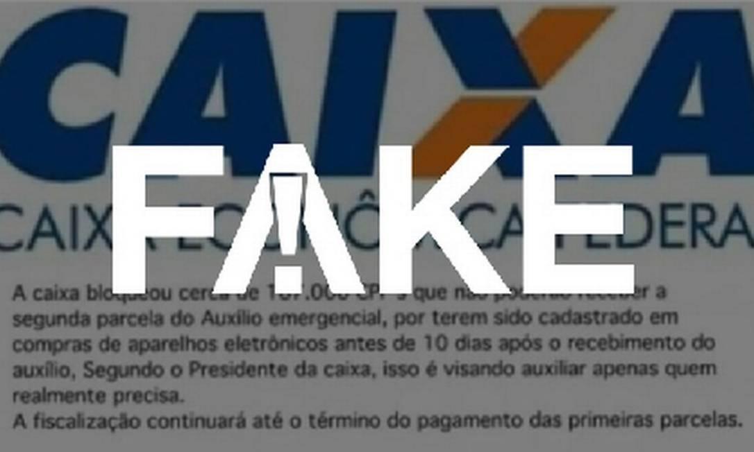 É #FAKE que Caixa bloqueou auxílio emergencial de quem se ...