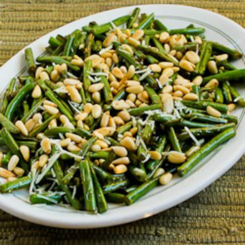 Stir-Fried Green Beans with Lemon, Parmesan, and Pine Nuts found on KalynsKitchen.com