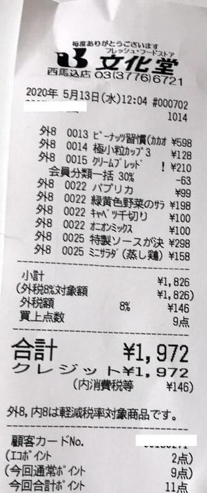 文化堂 西馬込店 2020/5/13 のレシート