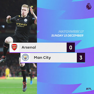 Arsenal 0-3 Manchester City, De Bruyne & Sterling Set Emirate On Fire