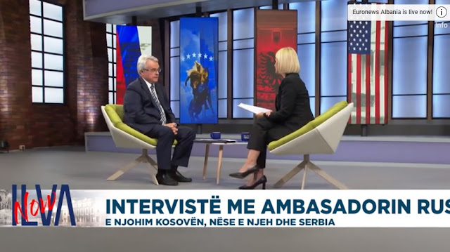 Russian ambassador mikhail afanasiev in an interview to auronews albania with ilva tare