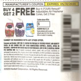 "B4G2 FREE Renuzit Adjustables Air Freshener Cones Max Value $2.20 Coupon from ""RetailMeNot"" insert week of 5/17/20."