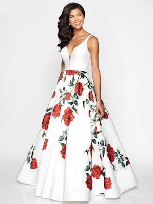 V-neck Floral Flair Print mikado Prom Ivory-red rose dress