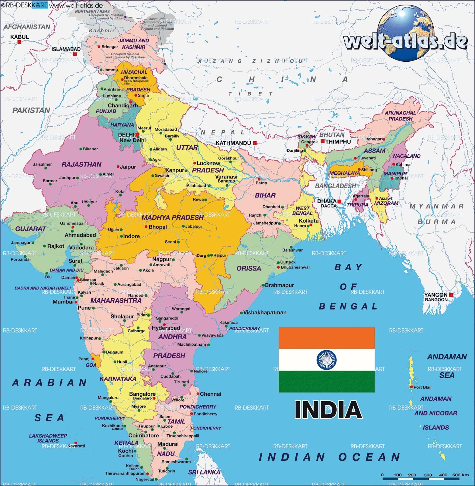 India Politica Cartina.Marco Carnovale 2010