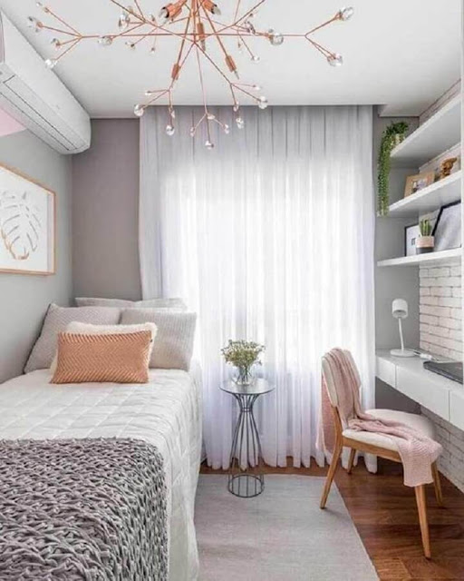 Young decoration for gray female bedroom