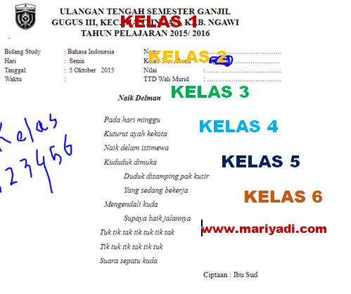 Kumpulan Soal Uts Bahasa Jawa Kelas 1 2 3 4 5 6 Sd Mi Semester 1 Mariyadi Com