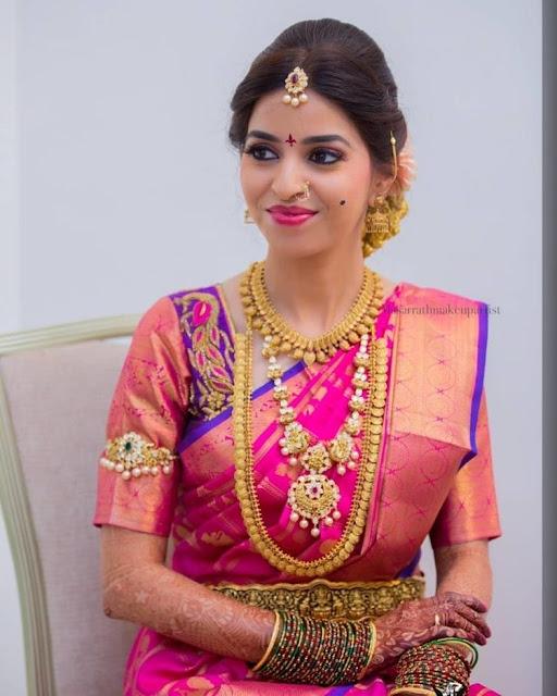 Bride in Mango Choker Kasu Mala