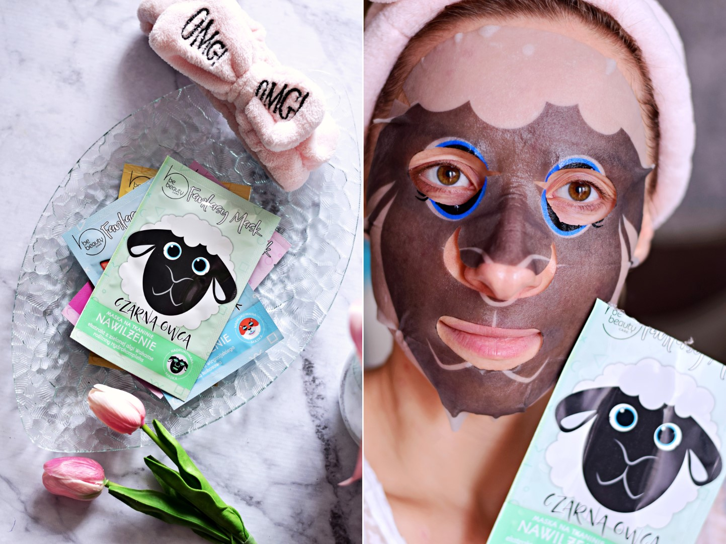 biedronka_be_beauty_maska_na_tkaninie_w_płacie_blog_recenzja_test_efekty_cena_nawilżająca_nawilżenie_owca