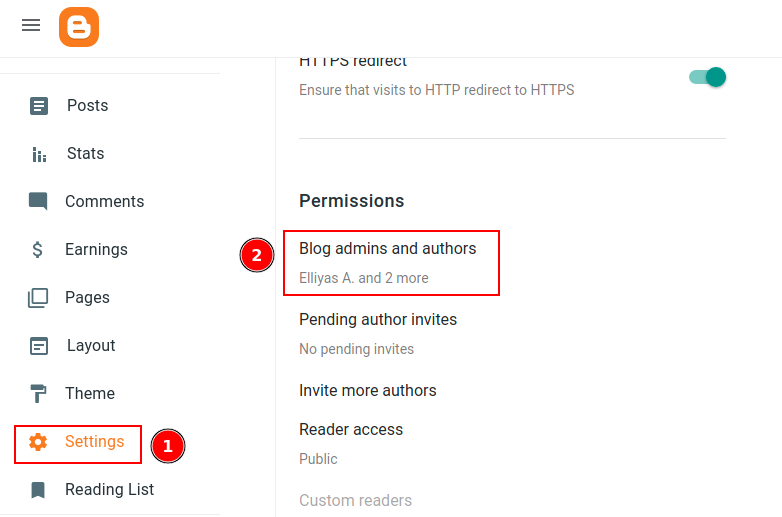 Blog admins and authors