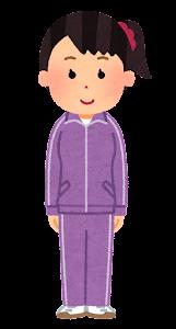 ジャージを着た女性のイラスト(紫)