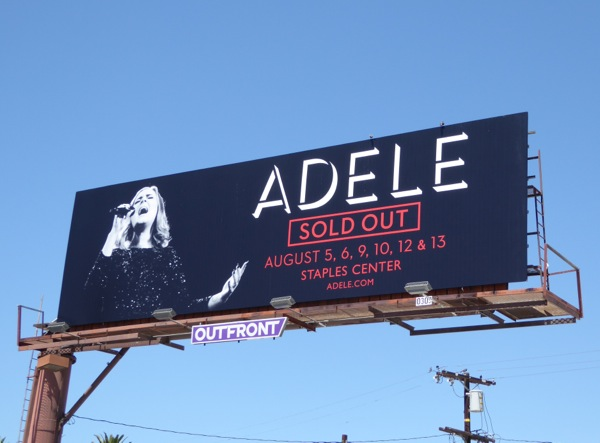 Adele sold out LA 2016 concert billboard