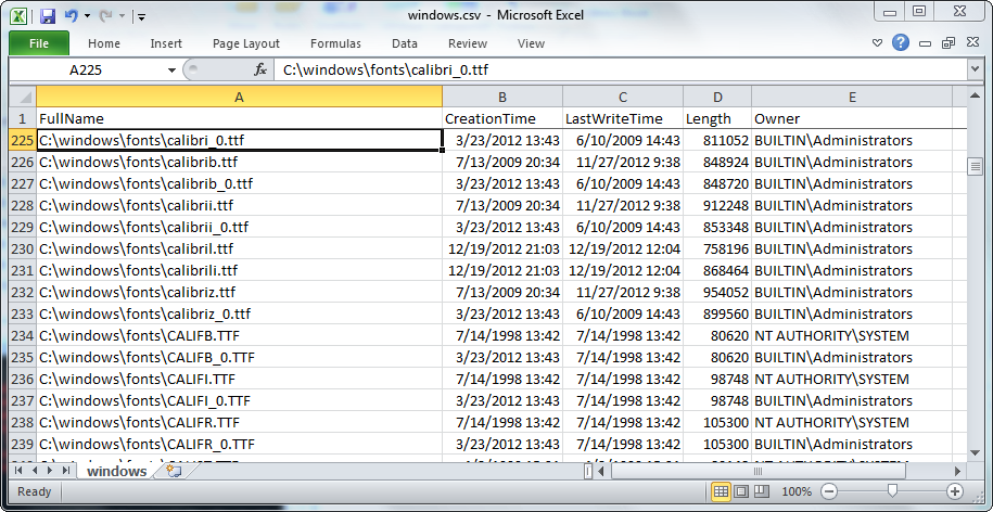 Heuristic Andrew: Write directory listing to CSV in Windows