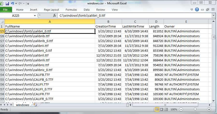 Heuristic Andrew: Write directory listing to CSV in Windows PowerShell