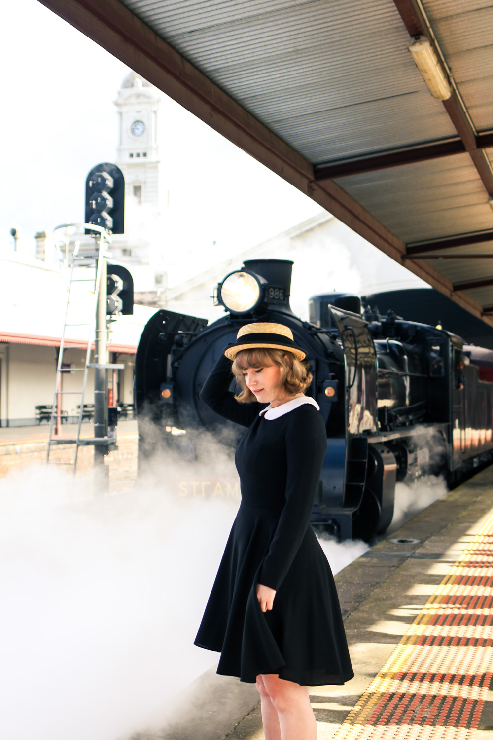 Liana of @findingfemme visit the steam train for Ballarat Heritage Weekend