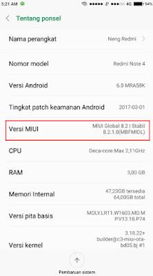 MIUI 8 Xiaomi redmi note 4 versi 8.2.1.0