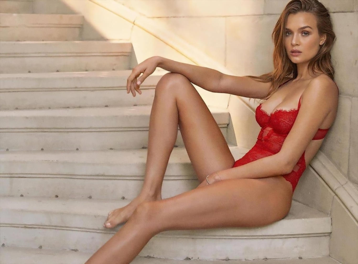 Josephine Skriver Red Lingerie Hot Wallpaper