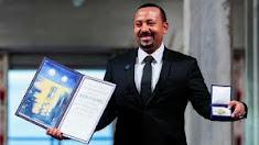 Abiy Ahmed Ali recibiendo el  premio  Nobel de la Paz