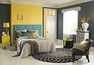dormitorio en amarillo y gris