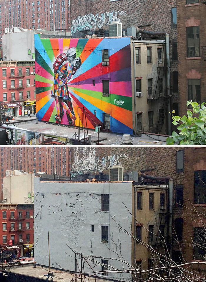 Ugly Blank Wall becomes Kiss Mural - Chelsea, New York, USA
