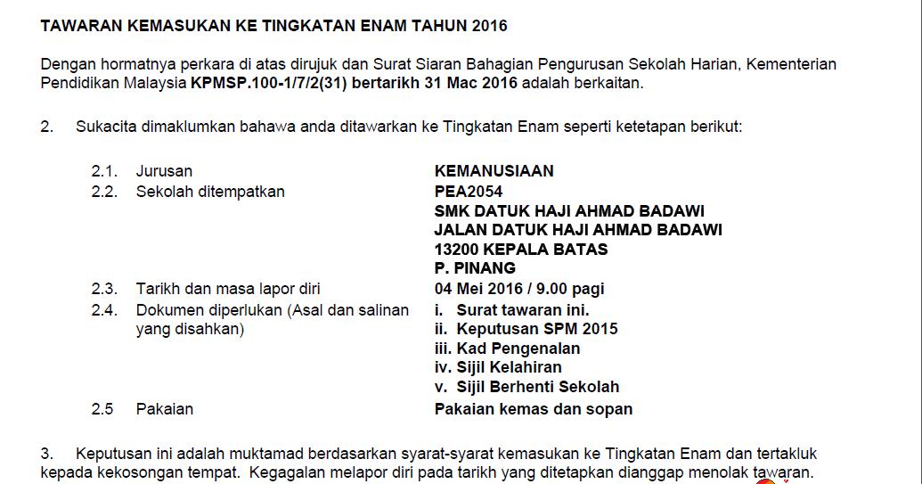 Syxmimie Kr Hari Pendaftaran Tingkatan 6