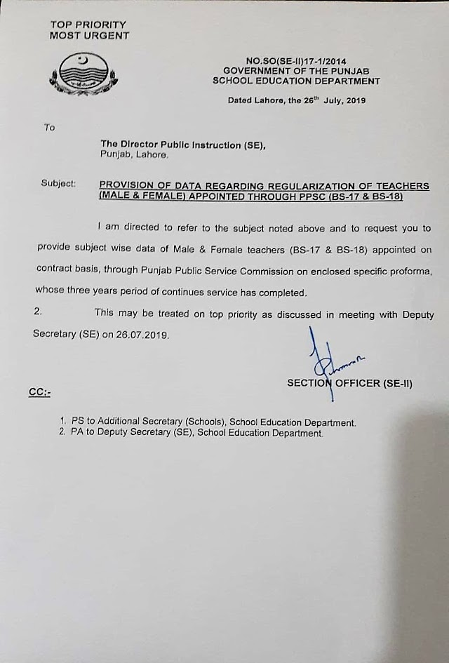 REGULARIZATION OF TEACHERS APPOINTED THROUGH PPSC