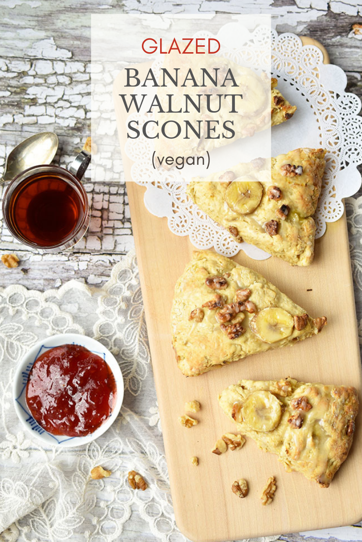 Glazed Banana Walnut Scones Recipe (Vegan)
