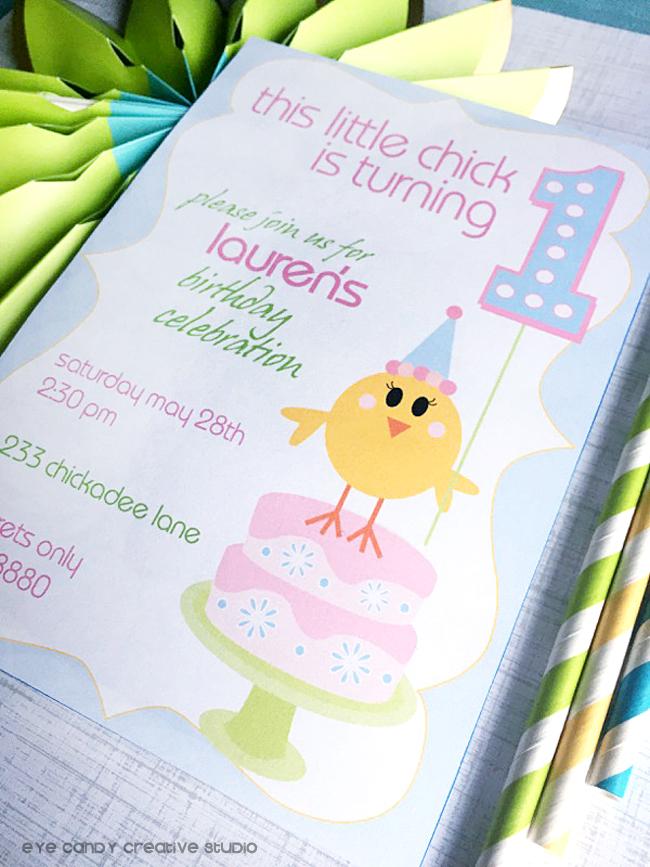 birthday chick, easter birthday invitation, first birthday, kids birthday