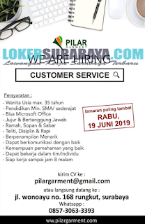 We Are Hiring at Pilar Garment Surabaya Terbaru Juni 2019