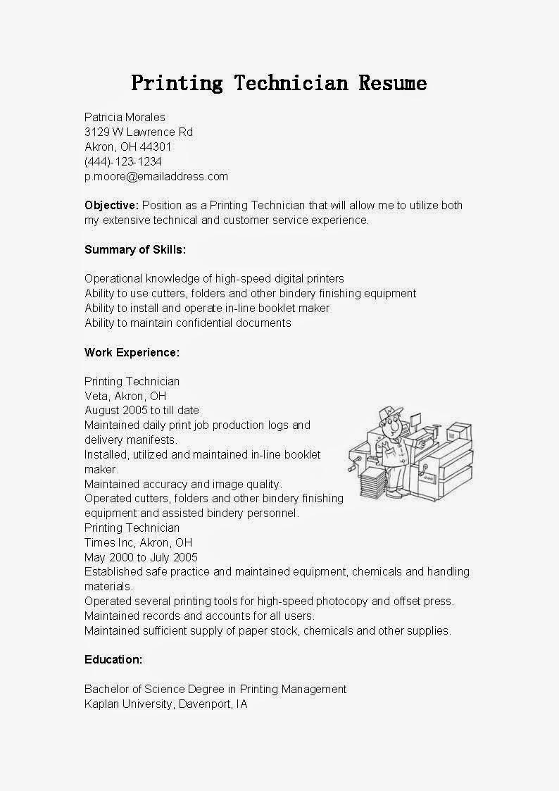 resume samples printing technician resume sample