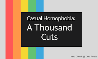 Casual Homophobia: A Thousand Cuts title image with rainbow stripes in background