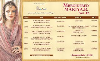 Shree Fab Mbroidered mariya b vol 12 Pakistani Suits