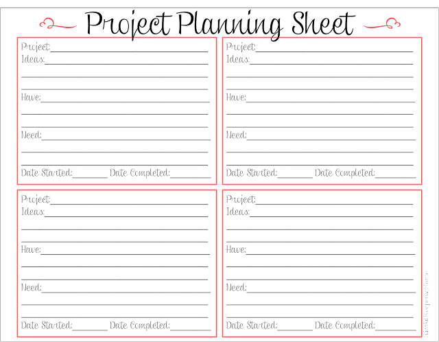 Blissful keeper at home project planning sheet for Home planner free