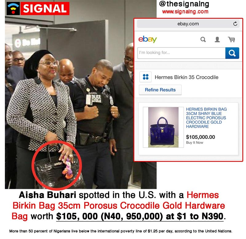 Aisha Buhari slays with 40m naira Hermes handbag in Washington, USA