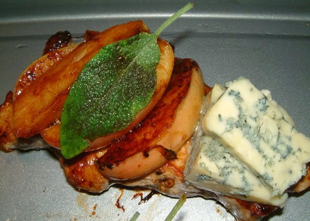 Pork Chops with Apple, Sage and Stilton in a pan