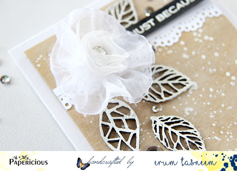 Papericious fabric flowers and chipboard elements. Card by Erum Tasneem - @pr0digy0