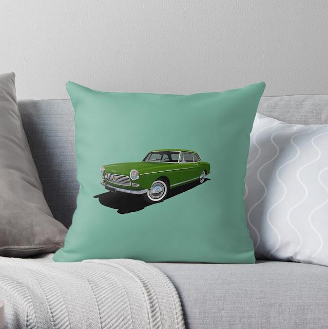 Classic car Peugeot 404 Coupé pillow
