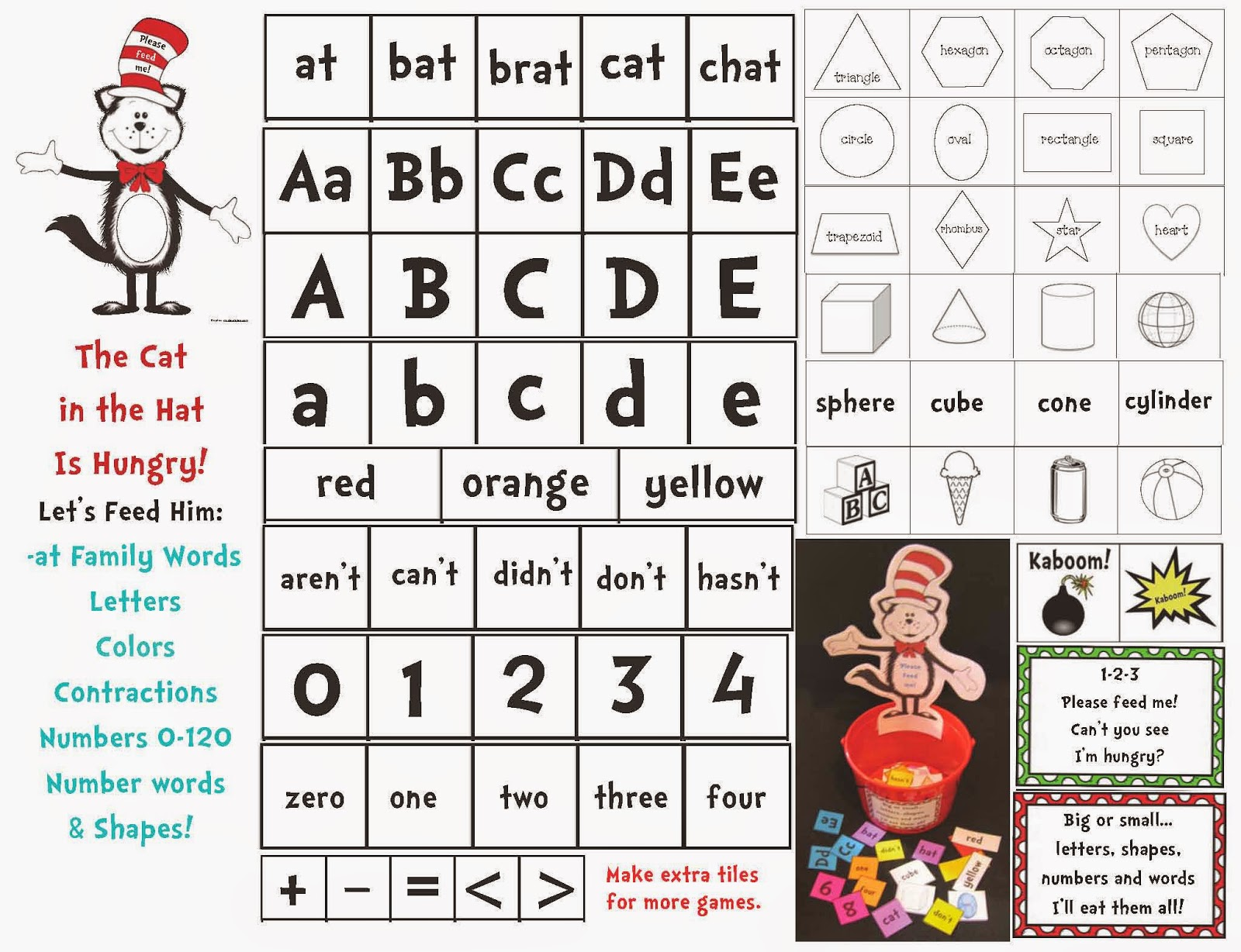Classroom Freebies Feed The Cat In The Hat Game